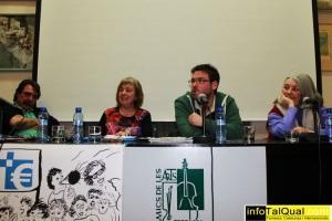 Josep Cabayol amb Nuria Martí Sato, Albano-Dante Fachin i Angels M. Castells en un acte en defensa sanitat pública. Terrassa.